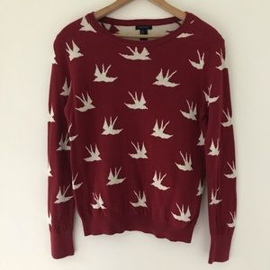Forever 21   Red Sweater With White Birds